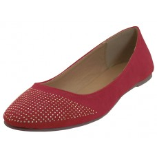 "MEENA-RED Wholesale Women's ""Angeles Shoes"" Micro Fiber Ballet Flat Shoes ( *Red Color )"