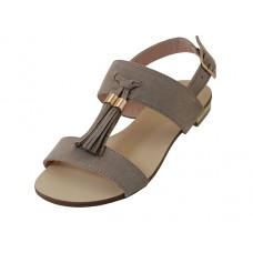 "MINCE-01-TAUPE - Wholesale Women's ""Mixx Shuz"" Strip Upper With Tassel Flat Sandal ( *Taupe Color ) *Last 2 Case"