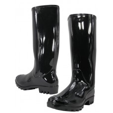 "RB-010-B Wholesale Women's ""EasyUSA"" 13½ Inches Water Proof Soft Rubber Rain Boots ( *Black Color )"