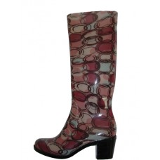RB-090-H - Wholesale Women's 14.5 Inches High Heel Water Proof Rubber Rain Boots ( *Brown Print ) *Last 3 Case