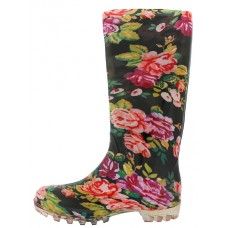 RB-12 Wholesale Women's 13.5 Inches Water Proof Rubber Rain Boots ( *Black With Red Flower Print )