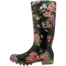 RB-12 - Wholesale13.5 Inches Women's Rain Boots(Black Rose Printed )
