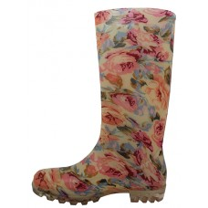 RB-14 Wholesale Women's 13.5 Inches Water Proof Soft Rubber Rain Boots ( *Pink With Beige Floral Print )