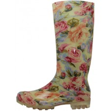 RB-14 - Wholesale Women's 13.5 Inches Water Proof Rubber Rain Boot ( *Neutral Floral Printed ) *Last 4 Case