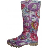 RB-16 Wholesale Women's 13.5 Inches WaterProof Rubber Rain Boots ( * Pink Circle Multi Color Print )