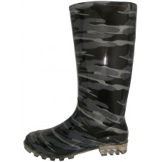 RB-17 Wholesale Women's 13.5 Inches Waterproof Rubber Rain Boots ( *Black/Gray Camouflage Print )