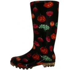 RB-18 wholesale Women's 13.5 inches Waterproof rubber rain Boots ( *Black With Red Tulip Print )
