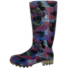 "RB-19 Wholesale Women's ""EasyUSA"" 13½ Inches Water Proof Soft Rubber Rain Boots ( *Black Tropical Leaf Print )"