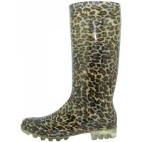 """RB-21 - Wholesale Women's """"EasyUSA"""" 13½ Inches Water Proof Soft Rubber Rain Boots ( *Gold Leopard Print )"""