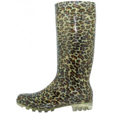"RB-21 - Wholesale Women's ""EasyUSA"" 13½ Inches Water Proof Soft Rubber Rain Boots ( *Gold Leopard Print )"