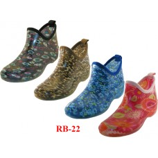 RB-22-A - Wholesale Women's Water Proof Ankle Height Garden Shoes, Rain Boots ( *Asst. 4 Prints )