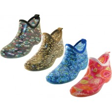 "RB-22-A - Wholesale Women's ""EasyUSA"" Waterproof Ankle Height Soft Rubber Garden Shoes, Rain Boots ( *Asst. 4 Prints )"