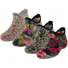 RB-22-B2 Wholesale Women's Ankle Height Garden Rubber Shoes ( *4 Asst. Print )