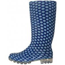 RB-24- Wholesale Women's 13.5 Inches Water Proof Rubber Rain Boot ( *Blue & White Print )