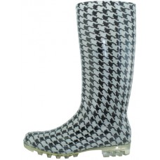 "RB-25 - Wholesale Women's ""EasyUSA"" 13½ Inches Water Proof Soft Rubber Rain Boots ( *Black & White Print )"