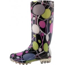 RB-27 - Wholesale 13¼ Inches Women's Wavy Line & Circular Ring Printed Rain Boots