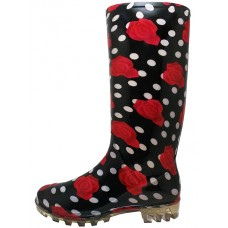 RB-28 - Wholesale 13¼ Inches Women's Black Red Roses Printed Rain Boots