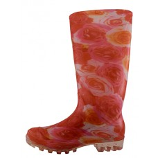"RB-29 Wholesale Women's ""EasyUSA"" 13½ Inches Water Proof Soft Rubber Rain Boots ( *Pink & White Print )"