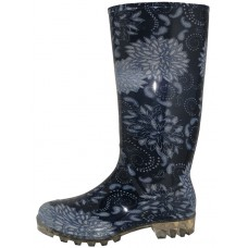 RB-34 Wholesale Women's 13.5 Inches Waterproof Rubber Rain Boots ( *Midnight Blue Floral Print )