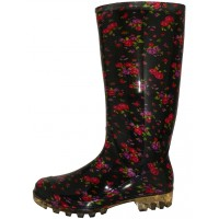 RB-35 wholesale Women's 13.5 Inches Waterproof Rubber Rain Boots ( *Black With Mini Rose Print )