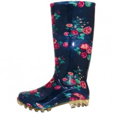 RB-36 Wholesale Women's 13.5 Inches Waterproof Rubber rain Boots ( *Navy Blue With Mini Red Floral Print )