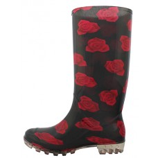 RB-37 Wholesale Women's 13.5 Inches Water Proof Soft Rubber Rain Boots ( *Black With Red Flower Print )