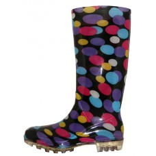 RB-38 Wholesale Women's 13.5 Inches Water Proof Soft Rubber rain Boots ( *Black With Multi Color Dot Printed )