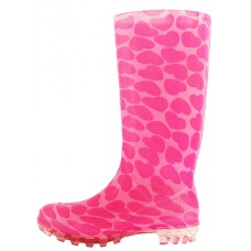 RB-39 Wholesale Women's 13.5 Inches Water Proof Soft Rubber Rain Boots ( *Pink Heart Printed )