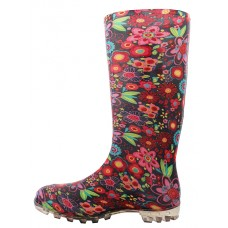 RB-40 Wholesale Women's 13.5 Inches Waterproof Soft Rubber Rain Boot ( *Multi Floral Printed )