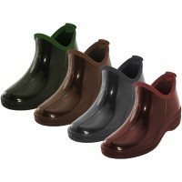 """RB-46-A Wholesale Women's """"EasyUSA"""" 5 Inches Ankle Height Soft Rubber Garden Shoes, Rain Boots ( *Asst. Brown Marron Gray & Green ) *Last Case"""