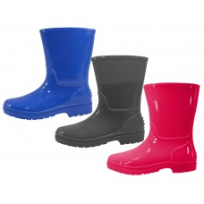 RB-55-3 - Wholesale EasyUSA Children's Water Proof Plain Rubber Rain Boots ( *Assorted Gray, Royal Blue And Bright Red ) *Last Case
