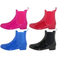 "RB-86-A - Wholesale Women's ""EasyUSA"" 6½ Inches Ankle Height Water Proof Solid Color Soft Rubber Rain Boots (Asst. Black Royal Blue, Fuchsia And Red )"