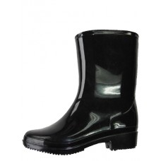 RB-95B - Wholesale Women's Water Proof Ankle Height Soft Rubber Rain Boots ( *Black Color )