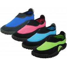 "S1189-L - Wholesale Women's ""Wave"" Water Shoes ( *Asst. Black/Fuchsia, Black/Royal Blue, Black/Green And Black/Blue )"