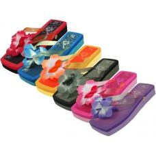 """S1198 - Wholesale Women's """"EasyUSA"""" Square Toe Silk Flower Top Slide Flip Flops ( *Asst. 6 Color ) *Close Out $1.25/Pr Case $60.00"""