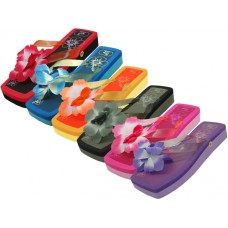 S1198 - Wholesale EasyUSA Women's Square Toe Silk Flower Top Slide Flip Flops ( *Asst. 6 Color )