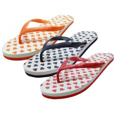 S1210-L - Wholesale Women's Heart Print Flip Flops ( *Asst. Red, Orange And Navy )