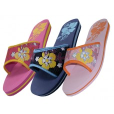 S1250-L - Wholesale Women's Floral Print Slide Slippers ( *Asst. Fuchsia, Navy And Pink )