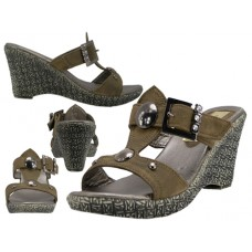 S1275-L - Wholesale Women's 2½ Wedge with Two Buttons Sandals (Closeout $3.00/Pr Case $72.00)