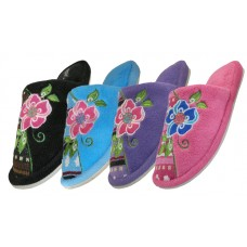 S1505 - EasyUSA Women's Satin Upper With Embroidered Floral House Slippers ( *Asst. Color )