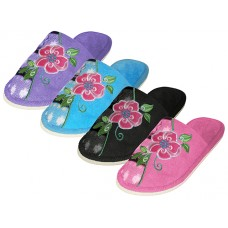 "S1505 - Wholesale  Women's ""EasyUSA"" Satin Upper Open Toe With Embroidered Floral House Slippers ( *Asst. Black. Pink. Blue And Purple )"
