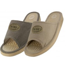 "S1707 - Wholesale Women's ""EasyUSA"" Casual Open Toes Massage In Sole House Slippers ( *Asst. Gray & Beige )"