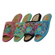 S1909 - Wholesale Women's Embroidered Slipper (Close Out $1.25/Pr. Case $60.00)