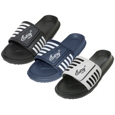 "S2060-M - Wholesale Men's ""EasyUSA"" Velcro Upper With Stripe Slide Sandal ( Asst: Black, Royal & Gray )"