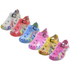 S2112 - Wholesale Women's Tie Dyed Light Weight Velcro Sandals ( *Asst. Color )