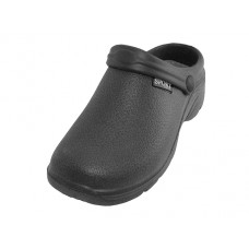 "S2390L-BB Wholesale Women's "" Sport "" Close Toe Rubber Nursing Clogs ( *Black Color )"