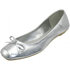 S2500L-S Wholesale Women's Square Toe Ballet Flats ( *Metallic Silver ) *Closeout $2.00/Prs Case $36.00