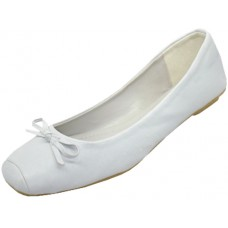S2500L-W Wholesale Women's Square Toe Ballerina Shoes ( *White Color ) *Closeout $2.00/Prs Case $36.00