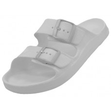 S2610L-W - Wholesale Women's Double Strap With Side Buckles Slide Sandals ( *White Only )