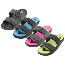 S2710L-A - Wholesale Women's Double Strap With Side Buckle Upper Sandals ( *Asst. Black/Black Turquoise. Lime & Hot  Pink )